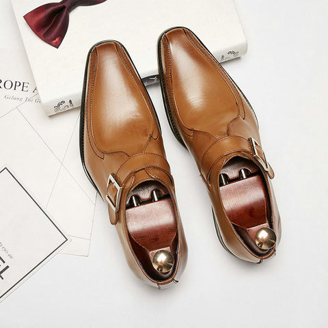 New fashion European Leather Men Brown Monk Strap Formal Shoes Office Business Wedding Suit men Dress Loafers TA-06