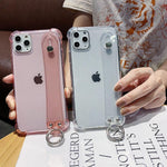 Glitter Powder Holder Phone Cases For iPhone 11 Pro Max X XR XS Max 6 6S 7 8 Plus SE 2020 SE2 Transparent Wrist Strap Back Cover