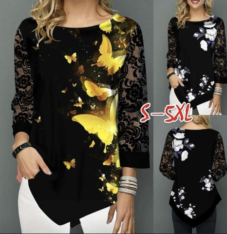 Shirt Blouse Women Plus size 5XL Fashion New Spring Summer print Black Tops 3/4 Lace Sleeve Elasticity Female Shirt Casua