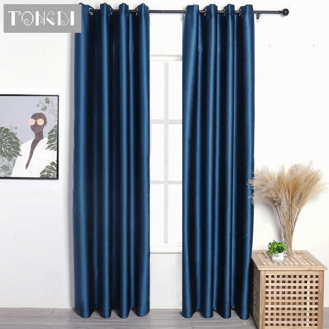 TONGDI Blackout Curtains Modern Lustrous High-grade Solid Color Panel Home Hotel For Living Room Bedroom Shading Noise Reduction