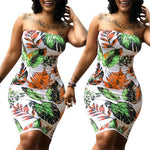 Women Summer Sleeveless Dresss New Floral Printed Strapless Bodycon Party Cocktail Mini Dress Plus Size Wrap Chest Dresses S-3XL