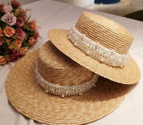 01907-shi summer handmade straw pearl lady fedoras cap women leisure panama jazz hat