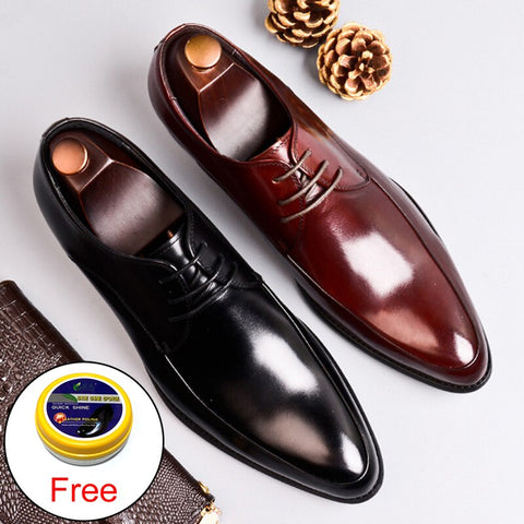 Classic Man Formal Dress Derby Office Shoes Genuine Leather Handmade Wedding Party Flats Pointed Toe Men's Basic Footwear SS367