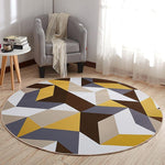 EHOMEBUY 2018 New Carpet Yellow Brown Geometric Anti Slip Rugs Round Carpet Floor Decoration Living Room Foot Pads Carpet Mat