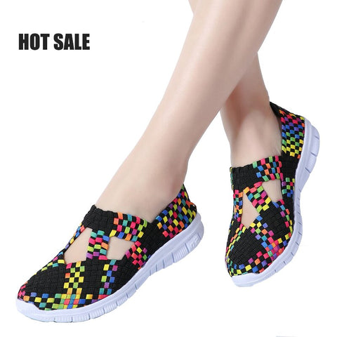 Summer Woven Big Size 35-42 Women Flats Breathable Sneaker Hollow Sandals Loafers Slip-on Running Sneaker Boat Sports Shoe