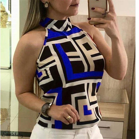 220 Sexy New Summer Women's Sleeveless Casual Shirt High Collar Hanging Neck Slim Commuter Shirt Five Colors Sizes S-XXL