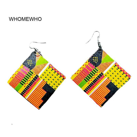 Colorful Natural Wood Square Geometric Painting Africa Tribal Earrings Vintage African Wooden DIY Party Club Jewelry