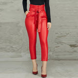 Women's Fashion Plus Size 2XL Casual Pocket Design Skinny Ankle-Length Pants OL Frills High Waist Belted PU Pencil Pants