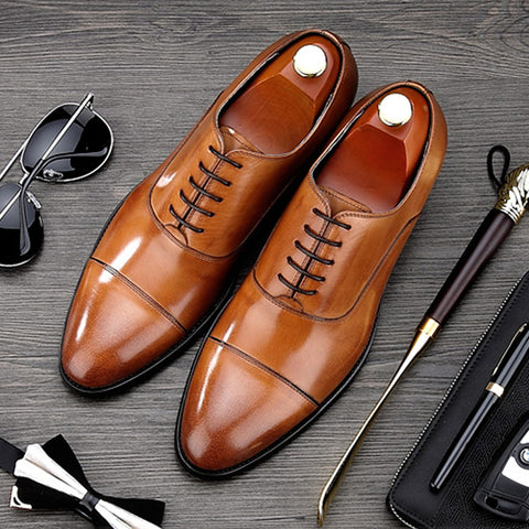 Luxury Brand Man Cap Top Formal Dress Shoes Genuine Leather Designer Party Oxfords Men's Bridal Wedding Flats For Male MG66