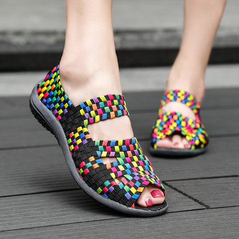 Colorful Women Weave Shoes Breathable Sneakers for Female Anti-slip Outdoor Cool Summer Shoes Fish Mouth Flats Wedge Mother Shoe