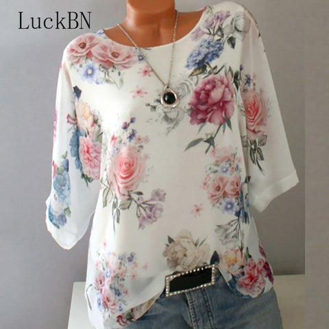 Summer Floral Print Women Blouse 5XL Plus Size Chiffon Blouses Half Sleeve Beach Shirt Office Work Shirts Blusas Feminina Tops