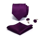 Ricnais Silk Solid Men's Tie Set 8cm Ties Handkerchief Cufflinks Sets For Man Red Gold