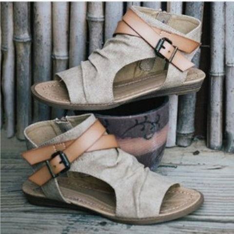 VTOTA Women Sandals Gladiator Peep Toe Buckle Zipper Design Roman Sandals Women Flat Summer Beach Ladies Shoes Chaussure Zapatos