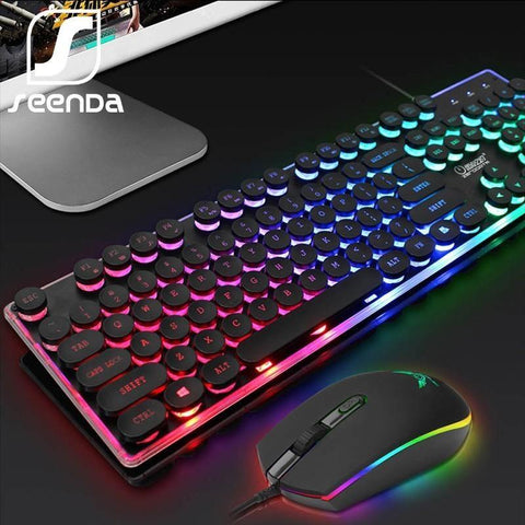 SeenDa LED Backlight Gaming Keyboard Mouse Set English Russian Wired Keyboard and Mouse Set for PC Laptop Gamer Ergonomic Design