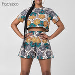 Fadzeco African Dresses for Women Dashiki Print Ankara Jumpsuit Short Sleeve Round Neck T Shirt and High Waist Short Pants