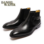 Winter Boots Men Ankle Boots Double Monk Strap High Grade Black Brown Office Wedding Casual Men's Dress Leather Shoes Men