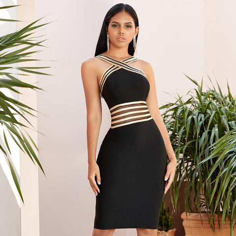 Evening Party Sexy Bandage Dress New Summer Striped Halter Backless Stretch Bodycon Dresses High Quality Women Clothing Vestidos