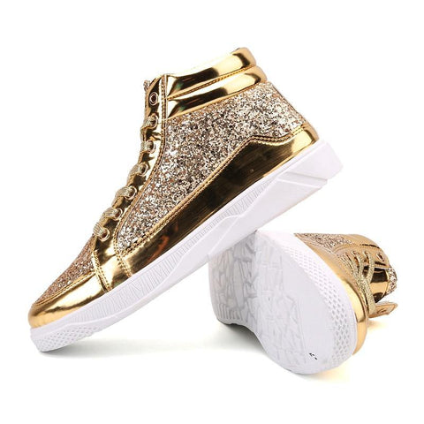 Women Shoes Gold Sneakers Shining Fashion Trainers Women Shoes Casual Lace-Up Tenis Feminino Zapatos De Mujer Womens Sneakers