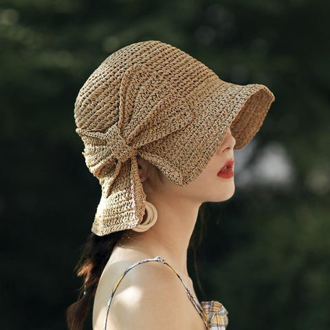 100%Raffia Bow Sun Hat Wide Brim Floppy Summer Hats For Women Beach Dome Bucket Hat Shade Hat