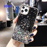 Bling Clear Phone Case For iphone 11 Pro Max X 8 7 6 6S Plus XR XS MAX Thin Slim Transparent Diamond Stand Holder Cases