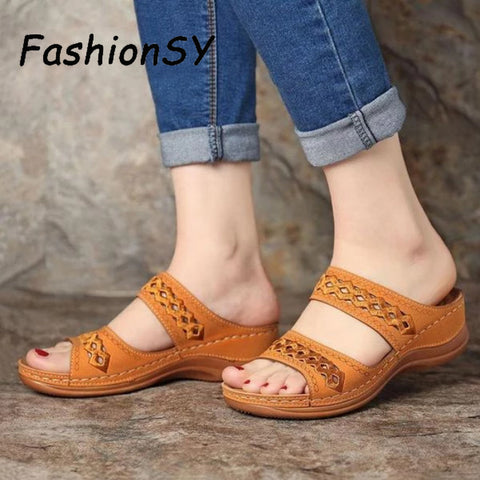 Women Wedge Sandals Gladiator Bohemia shoes Flip Flop Casual Platform Wedge Slides Open Toe Vintage Anti-slip Beach Shoes
