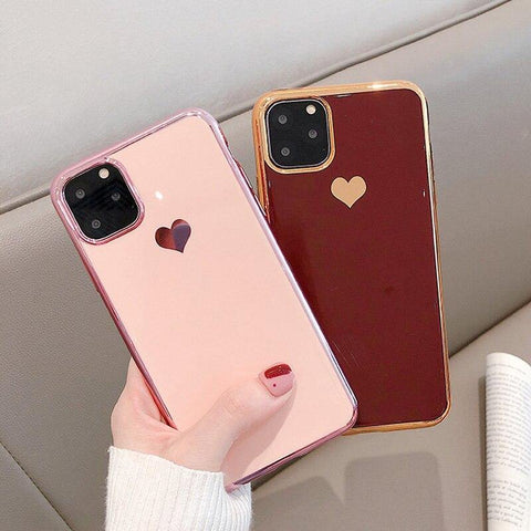 iPWSOO Plating Love Heart Soft Phone Case For iPhone 11 Pro Max X XR XS Max for iphone 6 6s 7 8 Plus TPU Silicone Cover Fundas