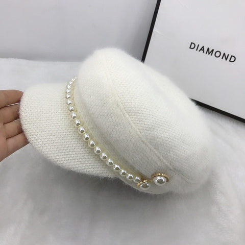 01911-fu-pearl add khaki color pearl buttons winter warm faux fur lady octagonal hat women leisure visors cap