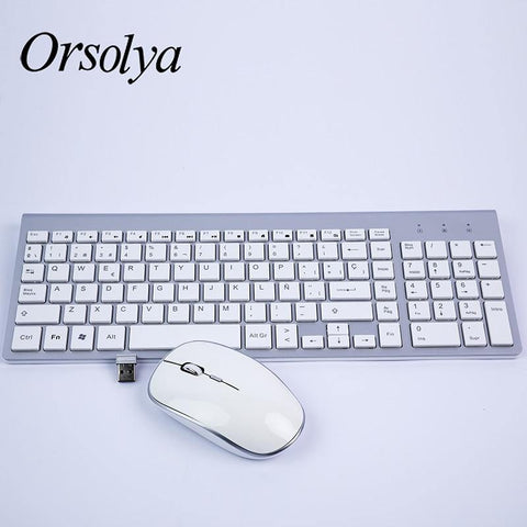2.4G Wireless Keyboard and Mouse Combo Orsolya Compact full-size keyboard and 2400dpi optical mouse Low noise,English,Spanish,German,Japanese,French,silver&white