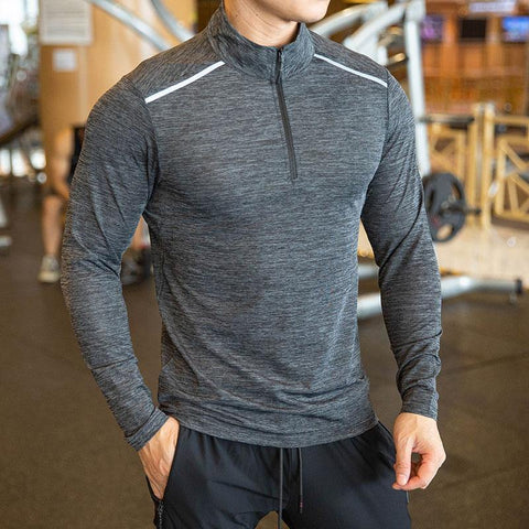 Quick Dry breathable Running Shirt Men Bodybuilding Sport T-shirt Long Sleeve Gym Fitness zipper stand collar Autumn winter