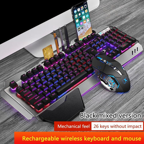 K680 Gaming Wireless Keyboard and Mouse kit Rechargeable Metal Panel RGB Backlit Waterproof Keyboard Mouse Set