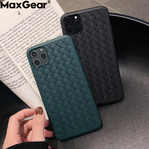 Breathable Mesh Case For iPhone 11 Pro Max XS 6 6S 7 8 Plus X XR Leather TPU Weaving BV Grid Cover iPhone11 Silicone Funda Shell