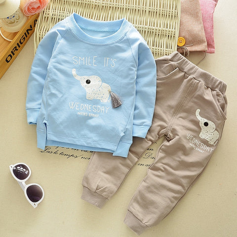 Children Spring Clothing Long Sleeved Cartoon Animal Clothes Suit Kids Boys Coat + Trousers 2pcs Set 2-5Y Baby Cotton Outwear