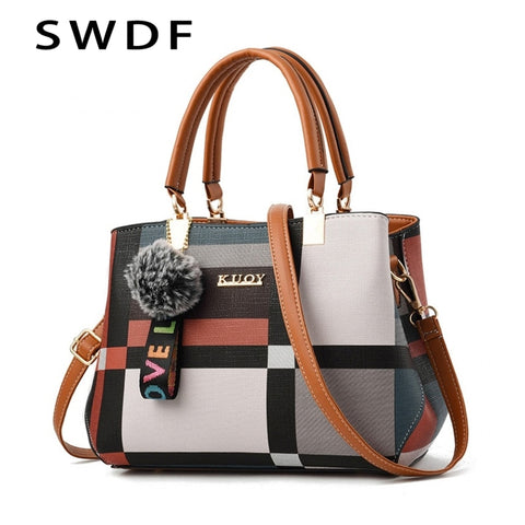2019 New Luxury Handbag Women Stitching Wild Messenger Bags Designer Brand Plaid Shoulder Bag Female Ladies Totes Crossbody Bags