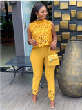 High street yellow hollow out 2 piece set women sleeveless short top and long pants fashion female outfit LTZ008