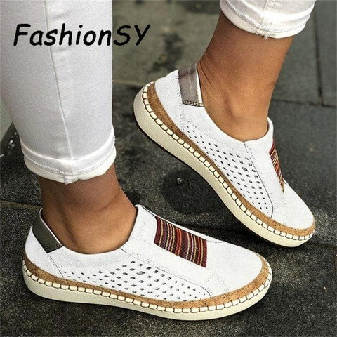 Hollow Out Women's Shoes Hand-stitched Striped Breathable Elastic Band Retro Casual Flat Suitable Wide Leg Women's Sneaker