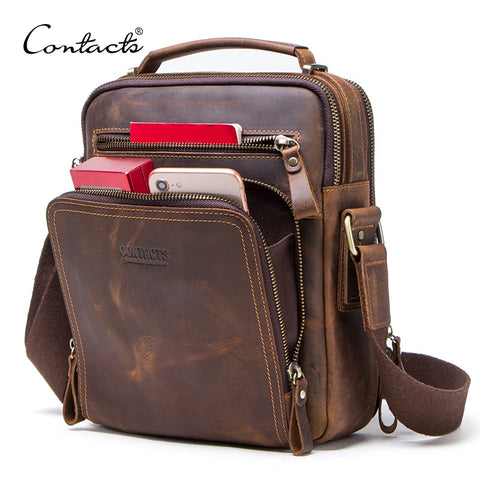 CONTACT'S crazy horse leather men's shoulder bag vintage messenger bags men bolsos male crossbody bags man's handbag sling bag