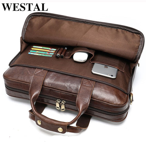 WESTAL men's leather bag men's briefcase office bags for men bag man's genuine leather laptop bags male tote briefcase handbag