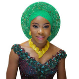 2018 african headtie for woman nigerian gele already made auto gele hele turban aso ebi big brim beautiful wedding headtie