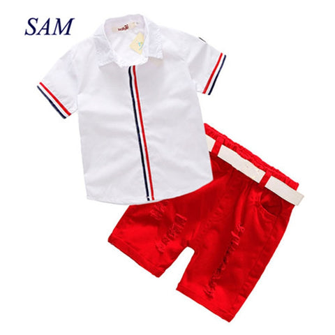 Baby Boys Clothing Sets Summer Children's T Shirts + Shorts + Belt 3pcs Suits Bow Pants Sports Kids Clothes Fashion Clothes