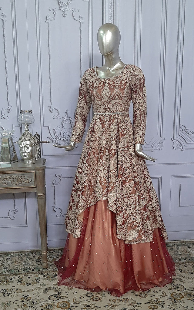 NET EMBROIDERED BRIDAL DRESS