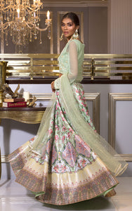 Unstitchred Embroidered Blouse and Lehenga