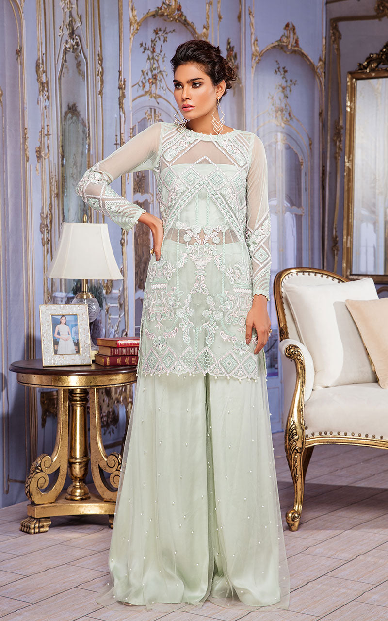 Unstitched embroidered net shirt