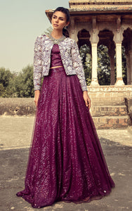 Net Embroidered Jacket With Skirt