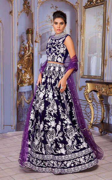 Unstitched Embroidered Velvet Blouse And Lehenga