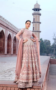 Unstitched embroidered dress with lehenga