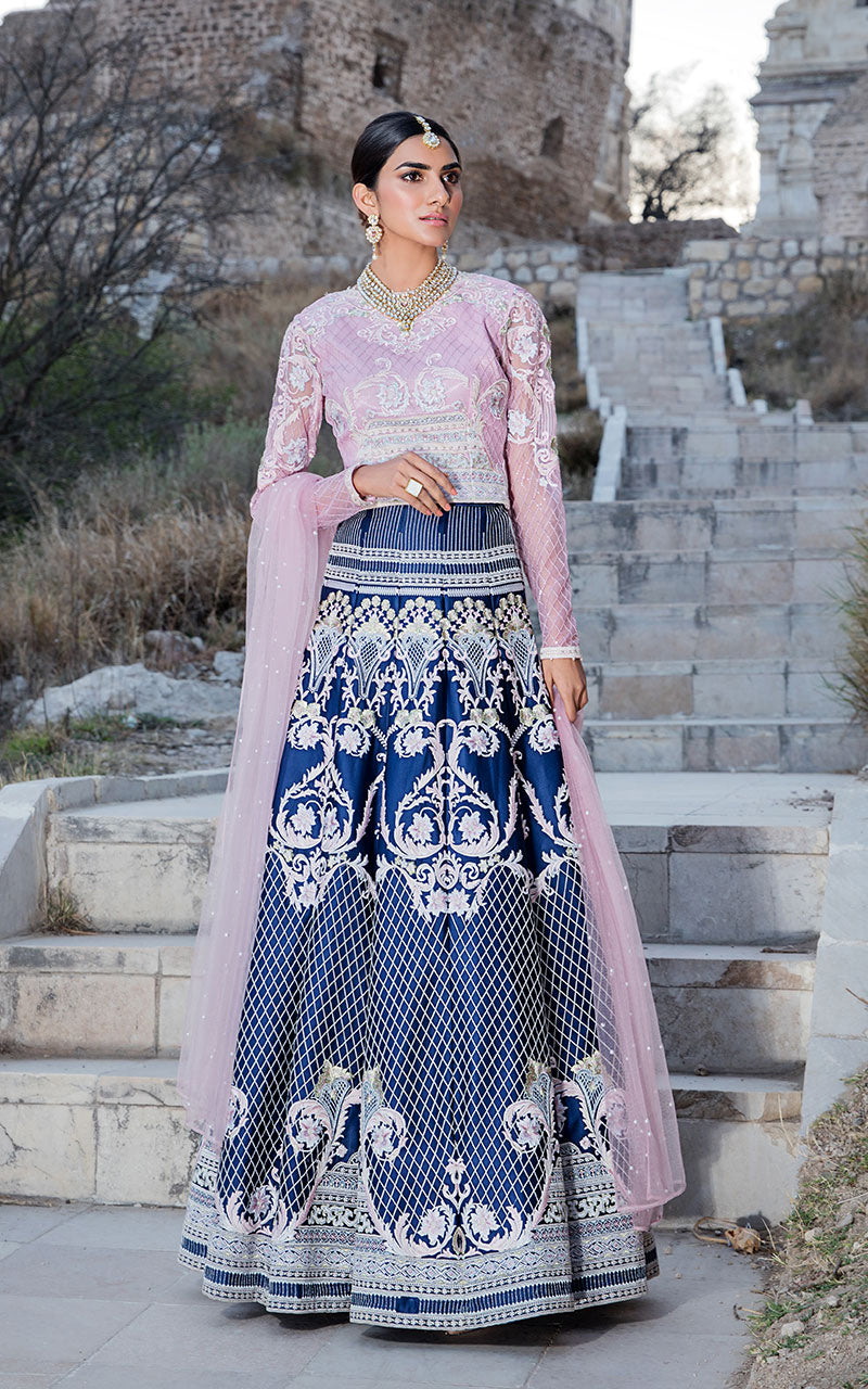 Unstitched embroidered lehenga & blouse