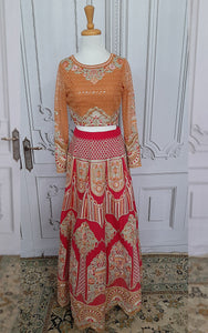 Unstitched embroidered blouse and lehenga