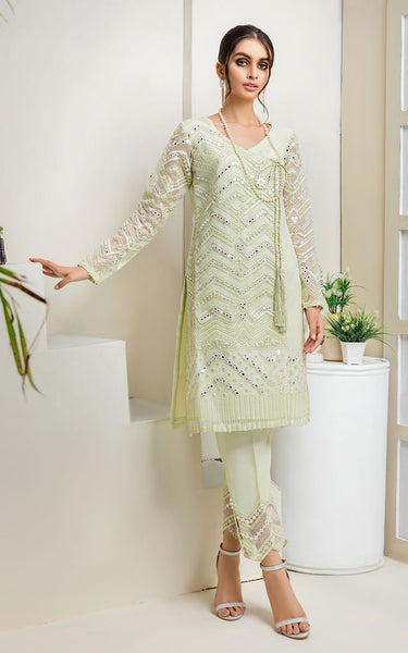 UNSTITCHED EMBROIDERED MIRROR WORK SHIRT
