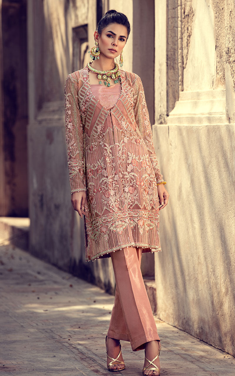 Thred and Motifs Net Embroidered Shirt 6703.1 Noor-E-Seher