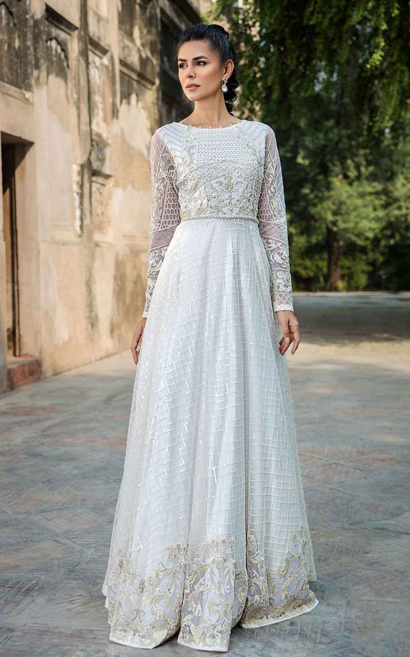 Unstitched Net Embroidered Dress